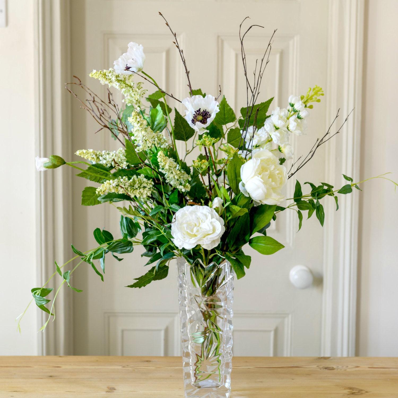 Roses In Garden: Silk Flowers English White Garden Roses & Poppy
