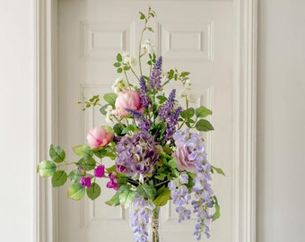 Silk Flowers English Peony & Blossom Arrangement   Luxury Flower And Foliage Silk Flower Bouquet   Artificial Flowers   Mother's Day Gift
