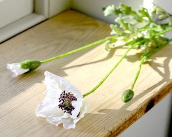 Artificial White Poppy Stem   Faux English Garden Poppy Stem For Flower Arranging   Faux Flowers By UK Florist