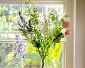 Silk Flowers   Country Garden Lily, Peony & Wisteria Bouquet   Artificial Flower Arrangement  Faux Flowers By UK Florist