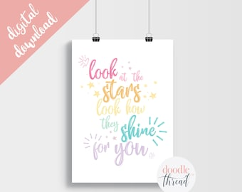 DIGITAL DOWNLOAD, Look At The Stars Quote Print, Coldplay Lyric Print, Rainbow Nursery, Nursery Print, Rainbow Baby, Rainbow Quote Print