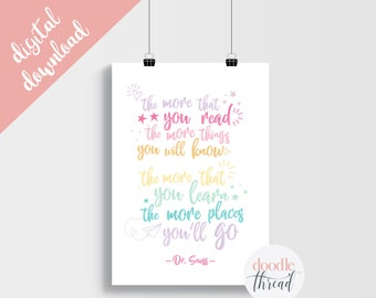 DIGITAL DOWNLOAD, Dr Seuss Places You'll Go Quote Print, Rainbow Nursery Print, Dr Seuss Quote Print, Playroom Print, Nursery Print