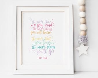Dr Seuss Places You'll Go Quote Print, Rainbow Nursery Print, Dr Seuss Quote Print, Places You'll Go Print, Playroom Print, Nursery Print
