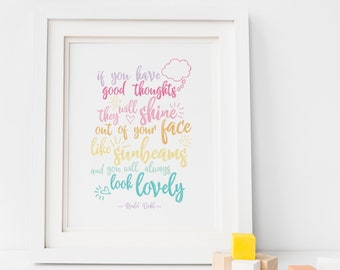 Roald Dahl Sunbeams Quote Print, Rainbow Nursery Print, Roald Dahl Quote Print, Good Thoughts Print, Baby Room, Rainbow Baby, Nursery Print