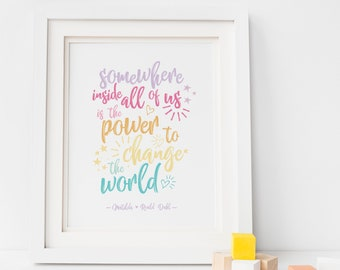 Roald Dahl Matilda Quote Print, Rainbow Nursery Print, Roald Dahl Quote Print, Change The World Print, Playroom Print, Nursery Print