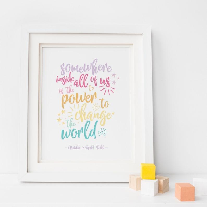 Roald Dahl Matilda Quote Print Rainbow Nursery Print Roald image 0