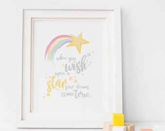 When You Wish Upon A Star Print, Make a Wish, Rainbow Nursery Print, Star Nursery Print, New Baby Gift, Baby Room, Rainbow Baby, Nursery Art