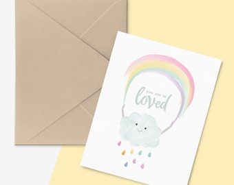 You are So Loved Greetings Card, Rainbow Birthday Card, Card for her, Rainbow Blank Card, Rainbow Greetings Card, Rainbow Quote Card