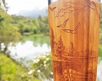Fishing Father Gift Bamboo Wood Travel Mug Early Morning Custom Engraved Design Car Driver Coffee Tea Cup Stainless Steel