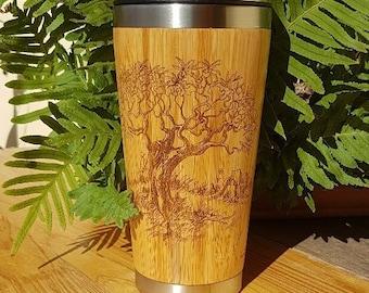 Wood Travel Mug OLIVIER Customized Engraved Wooden Gift Tumbler