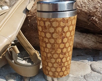 Love gift MY HONEY Wood Travel Mug Custom Engraved Tumbler