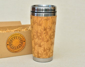 HEMP LEAVES Wooden Travel Mug Custom Wood Gift