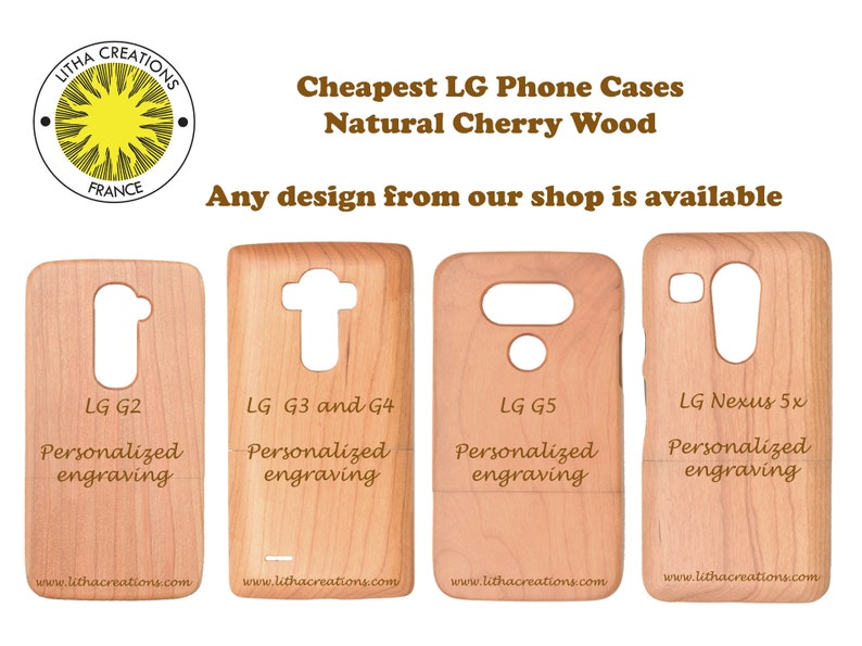 Wood Phone Case LG G2 G3 G4 G5 LG Nexus 5x Customized Samsung Models Cherry  Wooden Covers Personalized Engraving