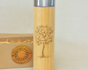 Wood Gift XL Thermos APPLE TREE with Engraved Custom Design