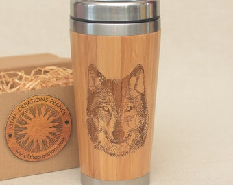 Customized Engraved Wooden Travel Mug WOLF Bamboo Wood Car Driver or Desk Coffee Tea Tumbler
