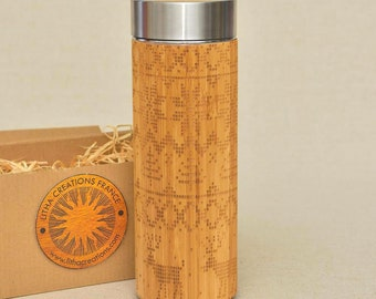 NORDIC Christmas Gift Wooden XL Thermos Wood Water Bottle
