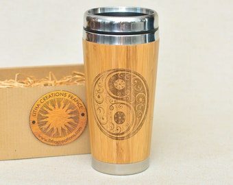 Wood Gift Travel Mug YING YANG Custom Engraved Design Wooden  Tumbler