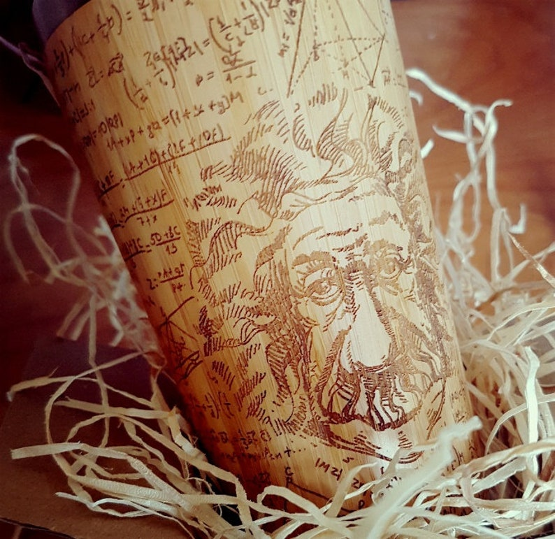 EINSTEIN Wood Science Gift Travel Mug Full Custom Engraved Wooden Tumbler