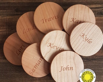 YOUR Customized TEXT Wireless Wood Phone Charger QI Pad Engraved Business Coworkers Gifts Custom Design Logo Names or Clear
