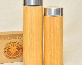Personalized XL Thermos Wood Gift with Engraved Text or Image
