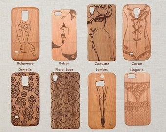 Custom Wood Phone Case Erotic Design HTC M10 M9 LG LG Nexus 5x G5 G4 Sony Xperia Z5 Z3 and Z3 Z5 Compact / mini Natural Cherry Wooden Cover