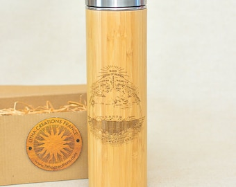 Wood Gift XL Thermos Flat Earth FIRMAMENT with Engraved Custom Design