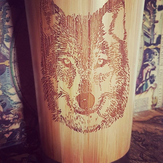 Gravé Tumbler Wood Mug Custom Travel Wolf TclF1KJ