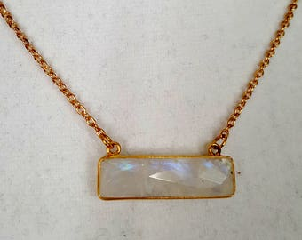 Bar Necklace Genuine Gemstone Moonstone White Rainbow statement gold tone