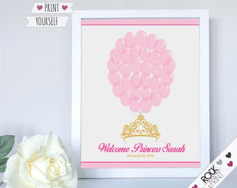 Tiara crown sign in guests  printable pdf  Princess baby shower balloon fingerprints First Birthday Guest Book guestbook 1st theme party