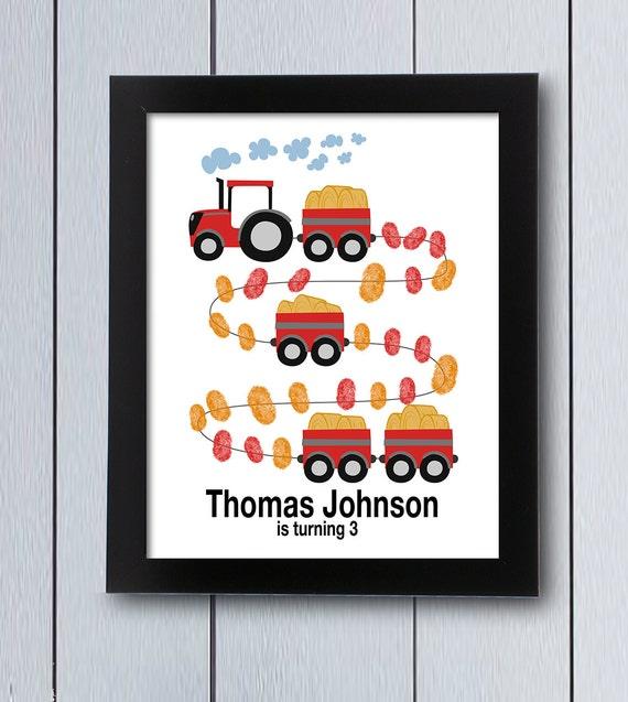 Farm Party Tractor Fingerprint Board / Printable Pdf