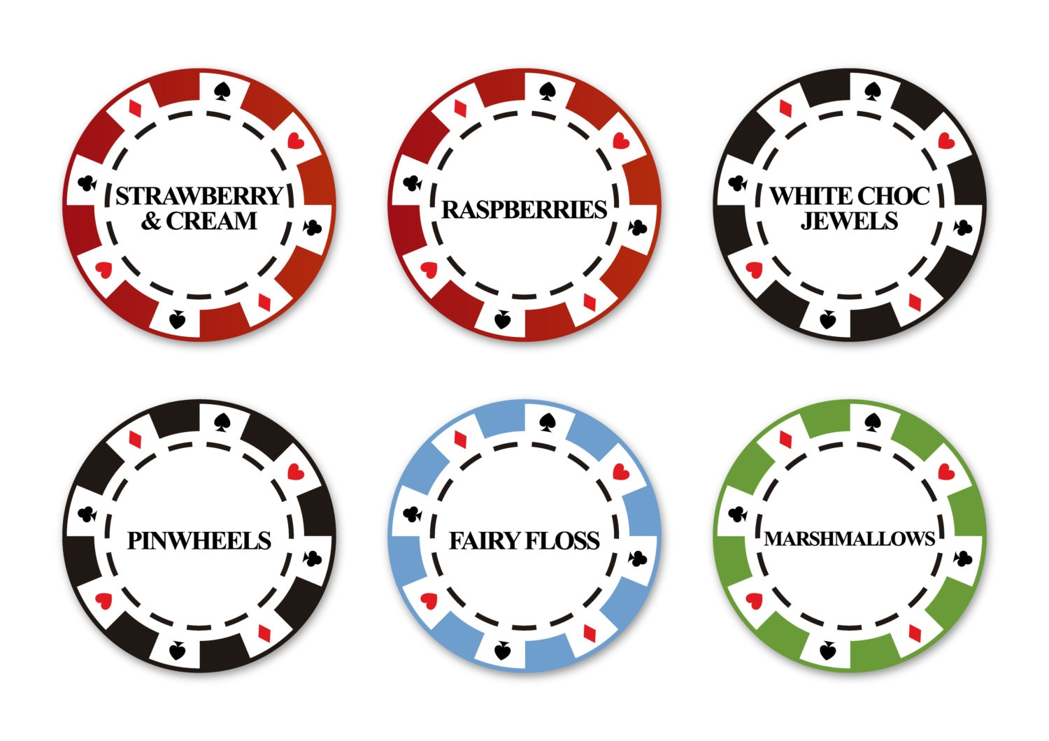 poker party candy label / printable pdf / tags casino decor | Etsy