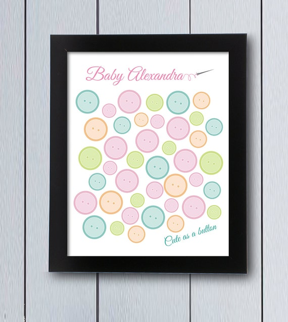 Cute as a button sign in board / printable pdf / Baby Shower | Etsy