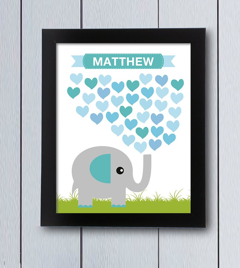 Ideas Para Cuadros De Baby Shower.Elephant Baby Shower Signing Page Printable Pdf Its A Boy Ideas Sign In Board Birthday Guestbook Signature Christening Heart Teal