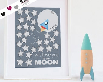 Space party sign in board / printable pdf / Love you to the moon Baby Shower Guestbook birthday guest book idea theme nursery stars signing