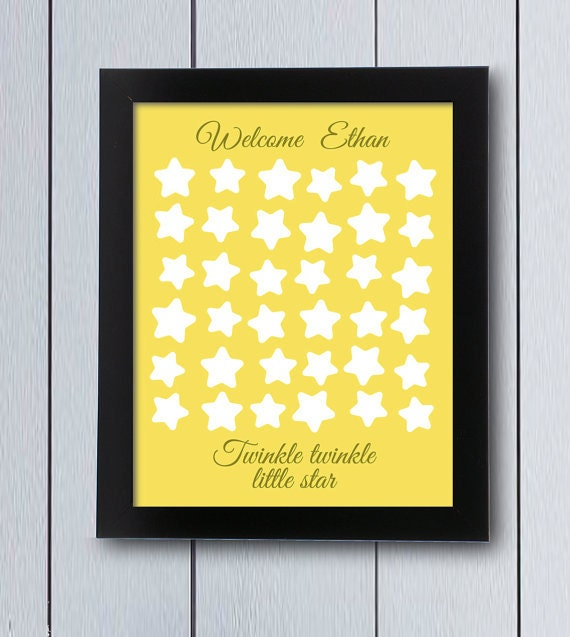 Baby Shower Guest Book Twinkle Little Star Birthday Printable Pdf