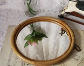 Small Round Bamboo Wall Mirror