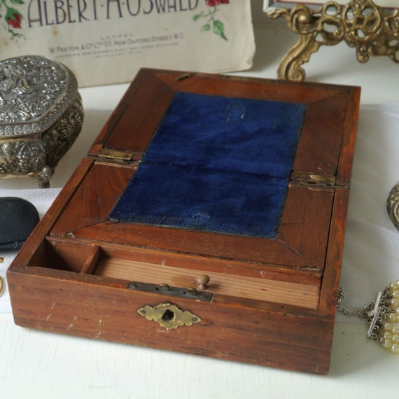Beautiful Antique Writing Slope, Vintage Inlaid Writing Box, Antique Travel Writing Desk, Small Portable Writing Slope