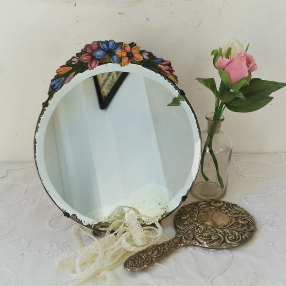 Vintage Round Barbola Mirror with Decorative Flowers