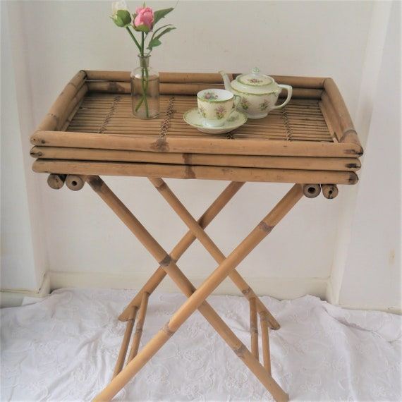 Vintage Folding Bamboo Table, Folding Butlers Tray, Side Table