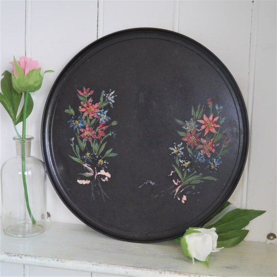 Vintage Tray, Bakelite tray Handpainted with Floral Design, Brown Tray with Handpainted Flowers, Round Decorative Tray