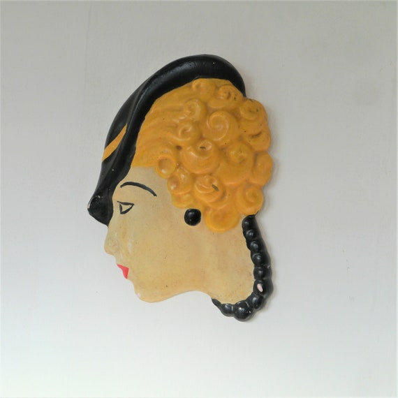 Art Deco Ladies Face Wall Hanging, Vintage Plaster Ladies Face, Wall Plaque, Vintage Wall Art