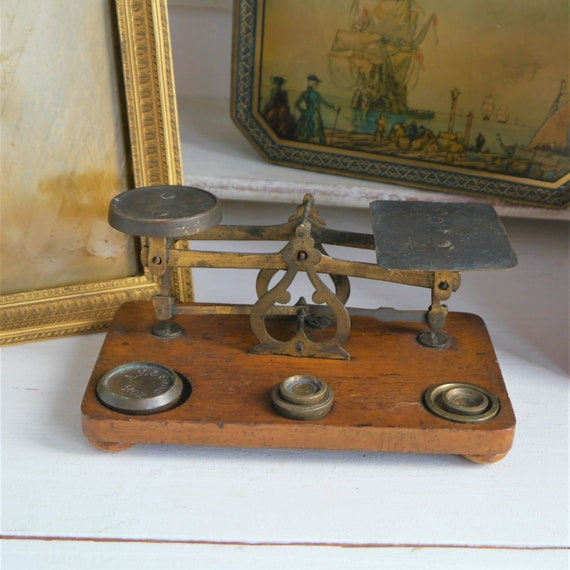 Vintage Wood and Brass Postage Scales, Antique Brass Scales, Vintage Office Decor