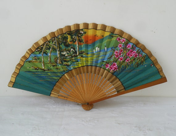Vintage Hand Painted Paper and Wood Fan