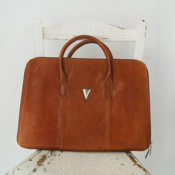 Vintage Tan Leather Document Bag