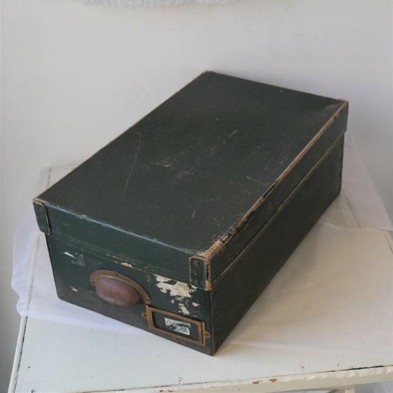 Vintage Cardboard File Box, Vintage Storage Box