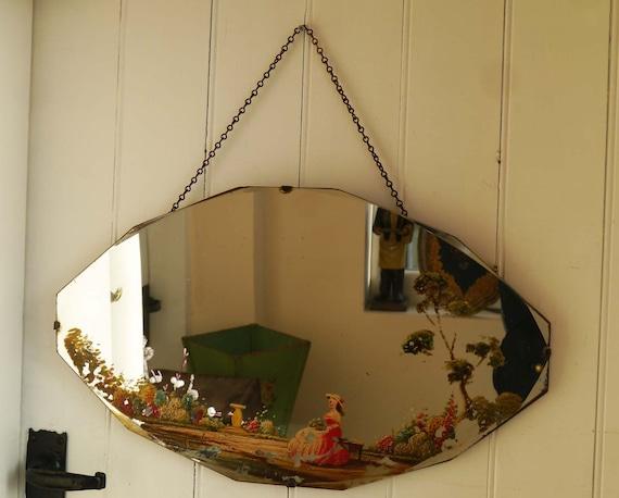 Vintage Painted Mirror Frameless Hanging Mirror Handpainted Etsy