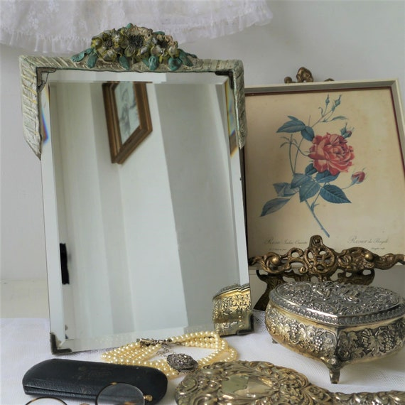 Vintage Free Standing Decoartive Mirror, Vintage Barbola Style Mirror, Mirror with Ceramic Flowers, Frameless Bevelled mirror
