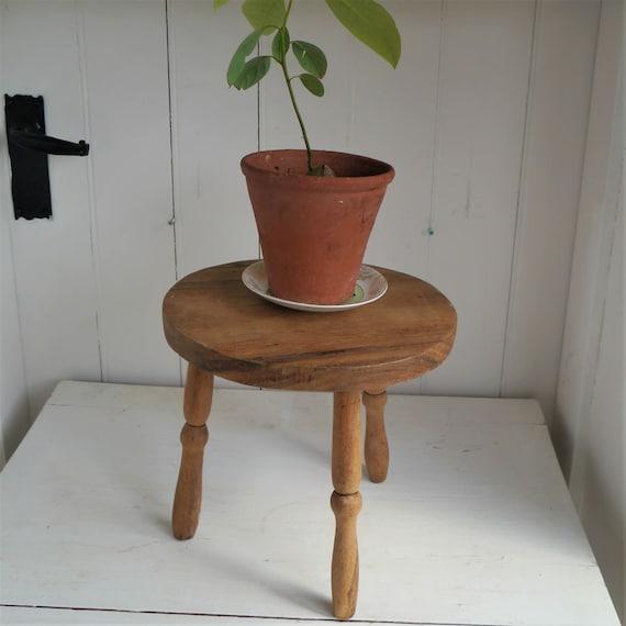 Vintage Wooden Milking Stool, Elm Rustic Stool, Three Legged Elm Stool, Wooden Plant Stand, Rustic Decor
