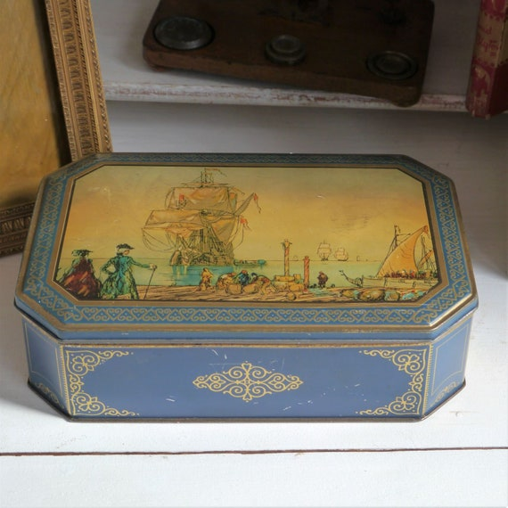 Vintage tin, Blue and Gold Vintage Tin, Vintage Tin Painted with Old Ships, Vintage Toffee Tin, Vintage Biscuit Tin, Vintage Storage Tin