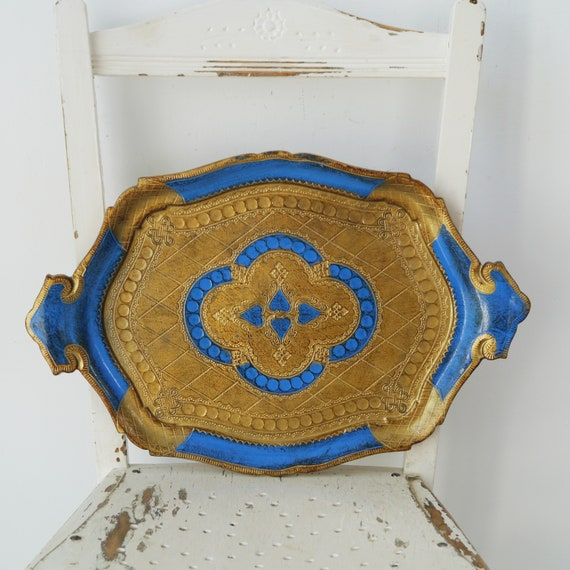 Decorative Florentine Tray with Handles in Blue and Gold